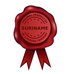 Product Of Suriname Wax Seal vector image vector image