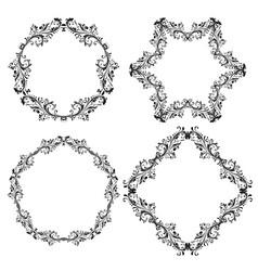 floral decorative frames black ornamental branch vector image