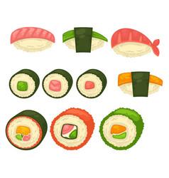 big sushi and maci rolls isolated vector image vector image