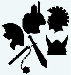 Crusader metallic knight helmet sword and mace vector image