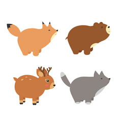 forest animals set of icons and vector image