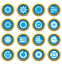 loading bars and preloaders icons blue circle set vector image