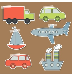 Set of transport stickers for babies vector image vector image