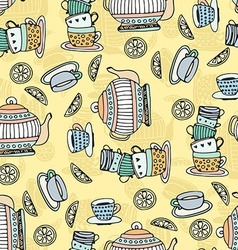Tea Cups Seamless Pattern vector image