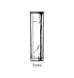 tumbler glass zombie vector image vector image