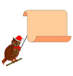 A Christmas owl with a big blank paper in his beak vector image