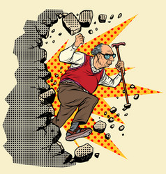 Active old man pensioner breaks the wall vector