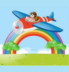Airplane flying in the sky over the park vector