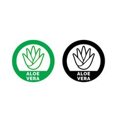 Aloe vera label green leaf icon vector