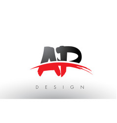 Ap a p brush logo letters with red and black vector