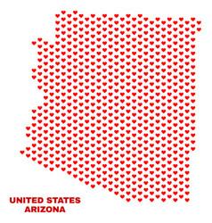 arizona state map - mosaic of valentine hearts vector image