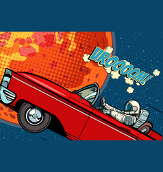 Astronaut in a car over the planet mars vector