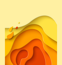 autumn sale - yellow paper cut shapes background vector image
