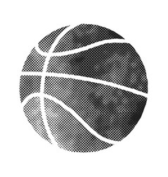 basket ball icon in halftone style black and vector image