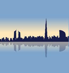 Beauty landscape of dubai city silhouettes vector