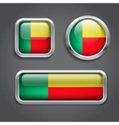 Benin flag buttons vector image