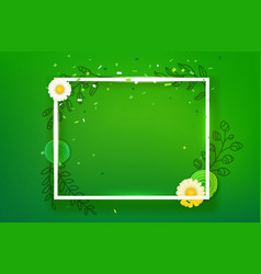 blank square frame on green background layout for vector image