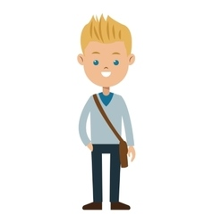 blond boy blue eyes sweater student vector image
