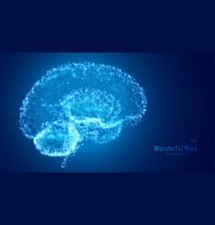 Blue 3d brain with glowing vector
