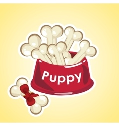 Bowl set of bones are food for the puppy vector