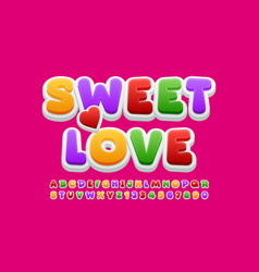 Bright card sweet love colorful alphabet vector