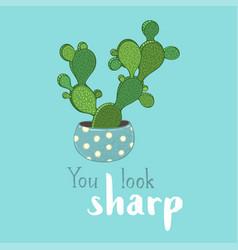bunny ear cactus card template vector image