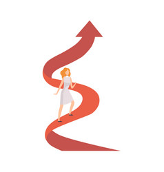 businesswoman climbing up growth red arrow graph vector image