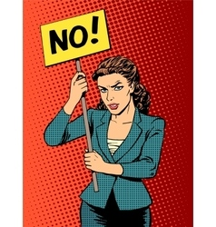 businesswoman policy protest with a poster no vector image