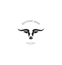 butcher shop logo template vector image