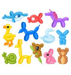 cartoon animal shaped helium cute birthday vector image