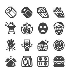 Charcoal icon set vector