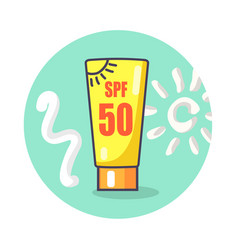 Circle icon depicting spf sunscreen lotion vector