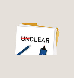 Clear unclear word strikethrough text concept of vector