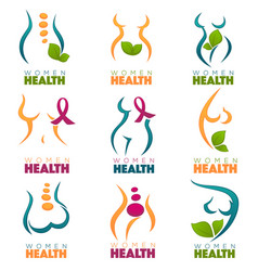 Collection of women health and care symbols vector