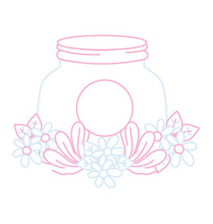 Color line mason glass with flowers and leaves vector