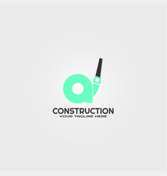 construction logo template with initials a letter vector image