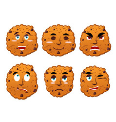 cookies emotions set oatmeal cookie evil and good vector image