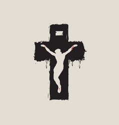 crucified jesus christ on black cross religious vector image