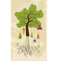 Cute colorful tree bird house vector