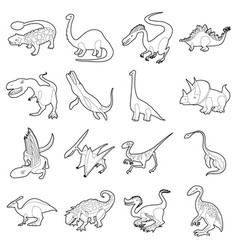 dinosaur types icons set outline style vector image