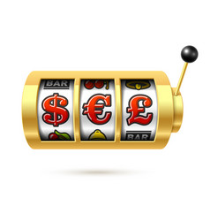 Dollar euro and pound currency symbols on slot vector
