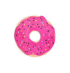 donut with pink glazed isolated on white vector image