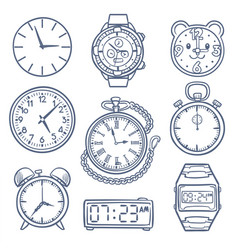 Doodle watch clock icons hand drawn time vector