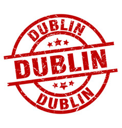 Dublin red round grunge stamp vector