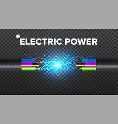 Electric break cable electrical circuit vector