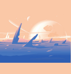 fantastic planet surface landscape vector image