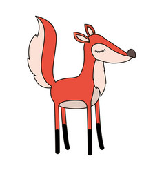 female fox cartoon with closed eyes expression vector image