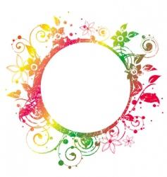 floral round frame 2 v vector image