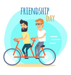 Friendship day two best friends on double bicycle vector