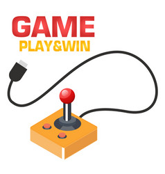 game play win retro joystick background i vector image